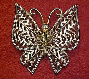 Vintage 72'  Avon butterfly pin, Silver  filigree /gold