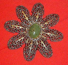 Large vintage filigree flower pin with jade center