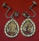 Vintage austrian crystal teardrop dangle earrings,
