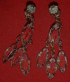 Crystal Marquis Cascade earrings, clip backs