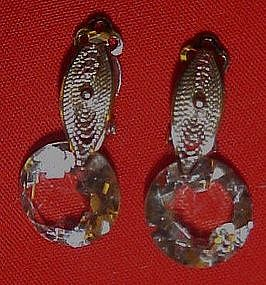 Crystal gold filled earrings, silvertone filigree, clip