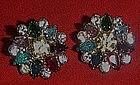Vintage multi color rhinestone button earrings, pierced
