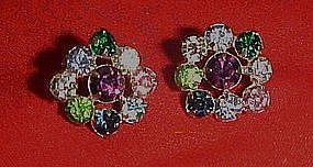 Vintage multi color rhinstone button earrings