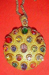 Large vintage ART signed pendant with rhinestones