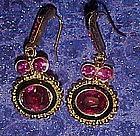 Fuschia rhinestone earrings, pierced