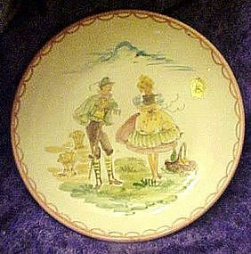 Ulmer Keramik Germany Folk art plate, hand painted