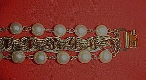 Vintage 60's bracelet, rope chain and faux pearls