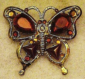 Brown / topaz rhinestone butterfly pin