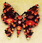 Vintage red and orange rhinestone butterfly pin, WOW!!