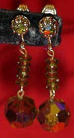 Vintage green aurora dangle  clip earrings