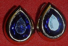 Blue sapphire teardrop stone earrings, post backs