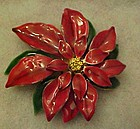 Festive enamel red poinsettia pin