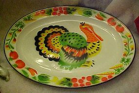 Colorful enamelware Turkey platter