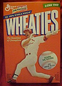 Wheaties Mark McGuire 70 home runs, Cereal box, MINT