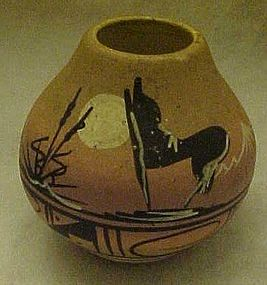Native American Navajo  pottery tourist vase, signed