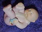 Bisque porcelain cabage patch baby figurine, pink girl