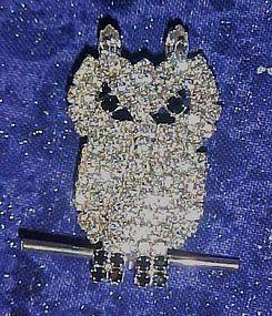 Glittery OTC swarovski rhinestone owl pin
