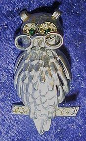 Large silvertone wise old owl pin, rhinestone eyes