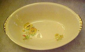Paden City PCP60 yellow daisies oval vegetable bowl