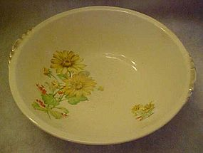 Paden City pottery, yellow daisies round vegetable bowl