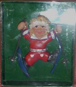 Kurt Adler Skiing boy ornament, mint in box