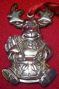 Gorham silver Reindeer playing drum ornament