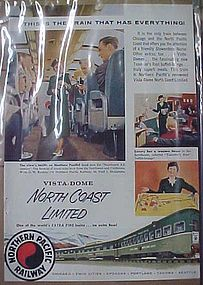 Vintage  Northern Pacific Railway, railroad train add
