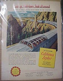 Vintage 1952 Vista Dome California Zephyr train add