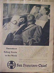Vintage 1956 Santa Fe Railroad train add