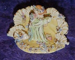 Vintage spaghetti art angel cake topper