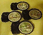 Currier and Ives cast iron ashtrays with tile coaster