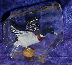 Vintage paperweight, acrylic with carved wood duck