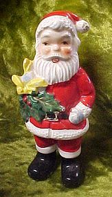 Vintage  JAPAN ceramic Santa figurine, holding holly,