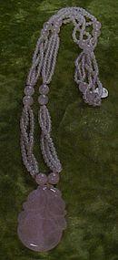 Beautiful Rose quartz pendant amulet, healing