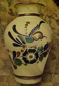 Hand thrown vase from Mexico, bird decoration