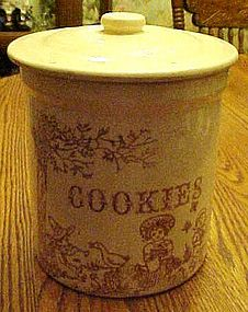 Vintage  salt glazed cookie jar, nursery rhyme scenes