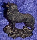 Black howling wolf or coyote figurine