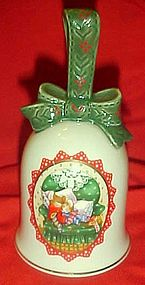 Avon Christmas 1990 porccelain  bell, mice sleeping