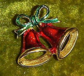 Christmas bells, gold tone holiday pin