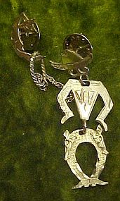 Sterling silver cowboy lasooing the moon pin