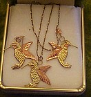 Black hills gold hummingbird necklace earrings set