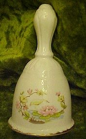 Egret and lily, bone china bell