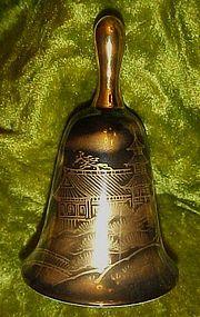 Shibata black porcelain bell with gold  Japan landscape