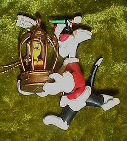 Looney Tunes Sylvester Santa and Tweety ornament