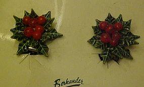 Vintage Berkander Christmas Holly and berries earrings
