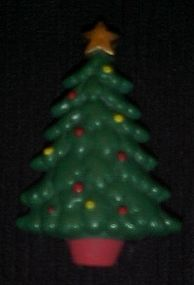 Russ plastic Christmas tree pin