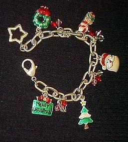 Merry Christmas silver tone charm bracelet