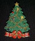 Pretty Christmas tree holiday pin, resin