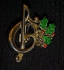 Music note Christmas pin with holly