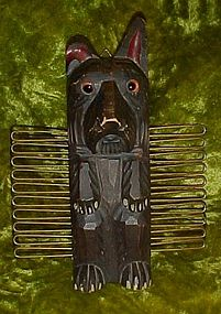 Hand carved wood scotty dog tie scarf rack, glass eyes